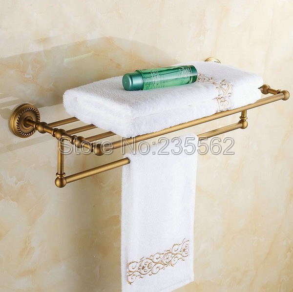 Antique Brass Wall Mounted Bathroom Towel Rack Holders Cba087Antique Brass Wall Mounted Bathroom Towel Rack Holders Cba087