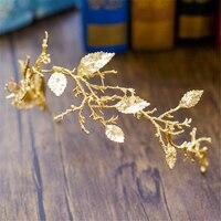 עלה זהב הבארוק כיסוי ראש גומייה לשיער כלה תכשיטי כתר שיער טיארה בגימור פרח בנד שיער חתונת אבזרים לשיער WIGO0983
