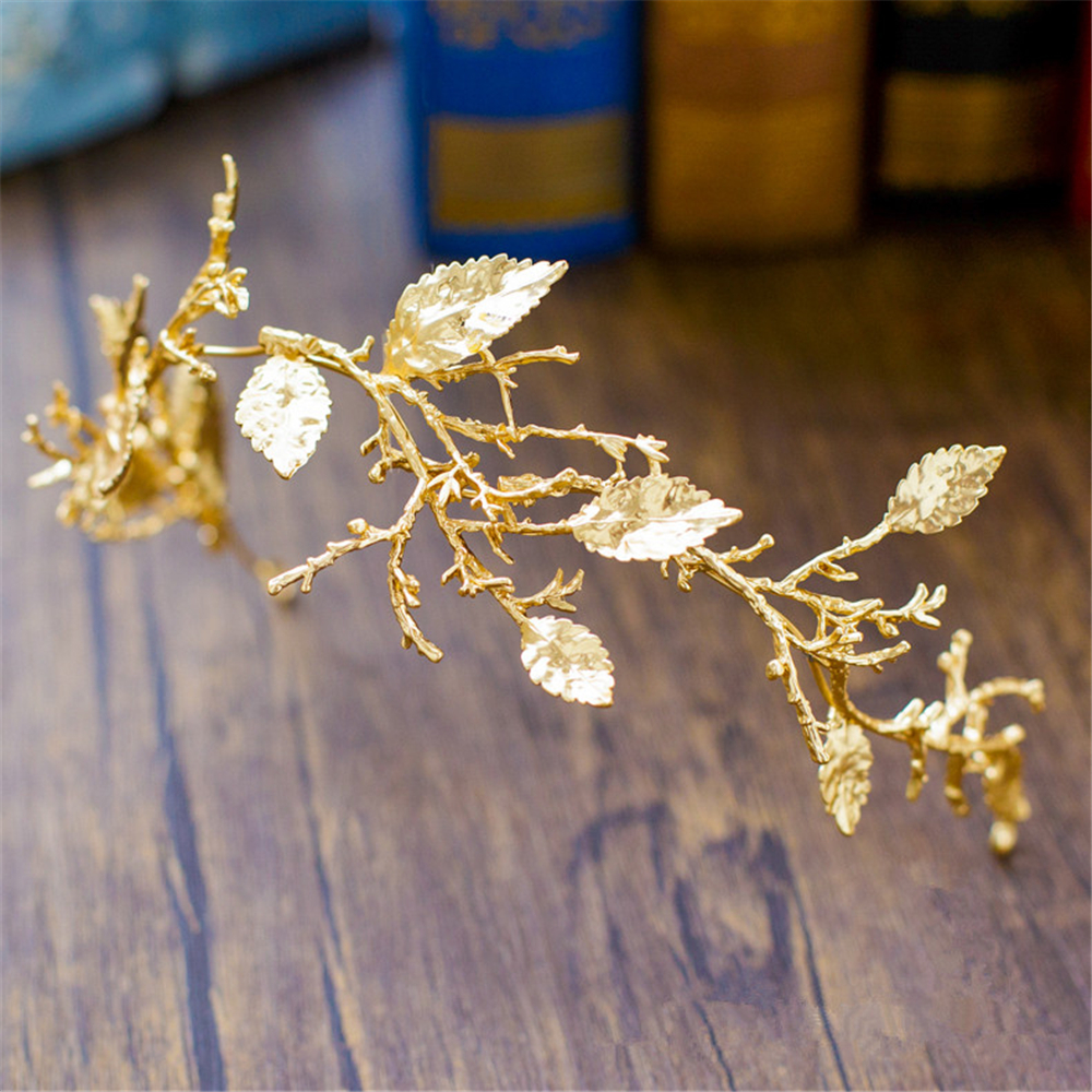 Gold Leaf Baroque Tiara Headband Flower Crown Hair Jewelry Bridal Hairband Headpiece Hair Band Wedding Hair Accessories WIGO0983 alloy leaf flower hair accessory