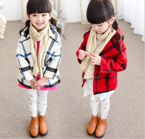 8df2f98251ab Top Quality Fashion Autumn Winter Girls Woolen Coats Jackets Plaid ...