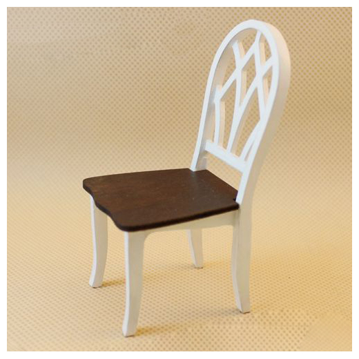 HOT SALE Dollhouse Miniature Kitchen Dining Room Furniture White Wooden Side Chair with Slat Back 1:12 Scale (Color: White & B
