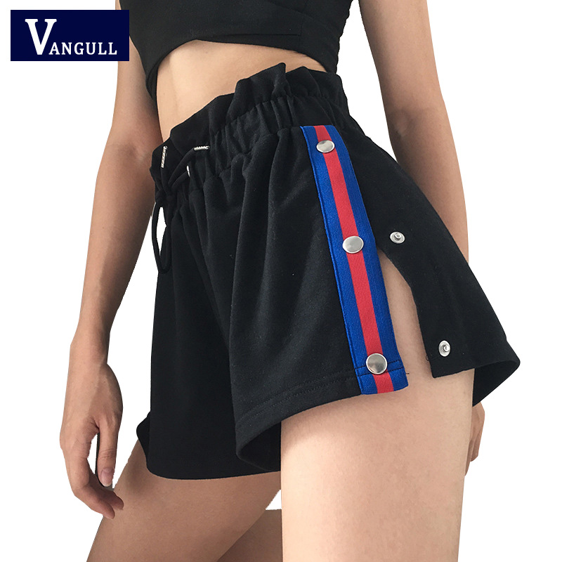 Vangull Buttons Split Side Women   Shorts   Striped Elastic High Waist   Short     Shorts   Casual Fashion Ruffles Tie Up   Short   Pants
