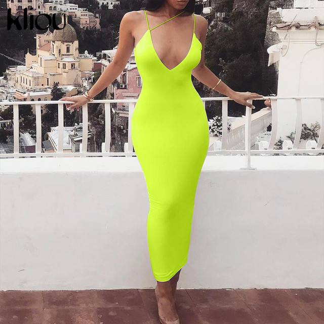 Kliou 2019 summer women sexy strap v-neck dress solid Neon color sleeveless skinny long dress female fashion vacation clothes 6