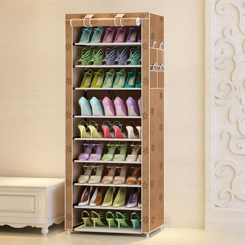 Actionclub Ten Layers Shoes Rack Strong Durable Oxford Cloth Fabric Shoe Organizer Rack Modern DIY Shoes Storage Shelf