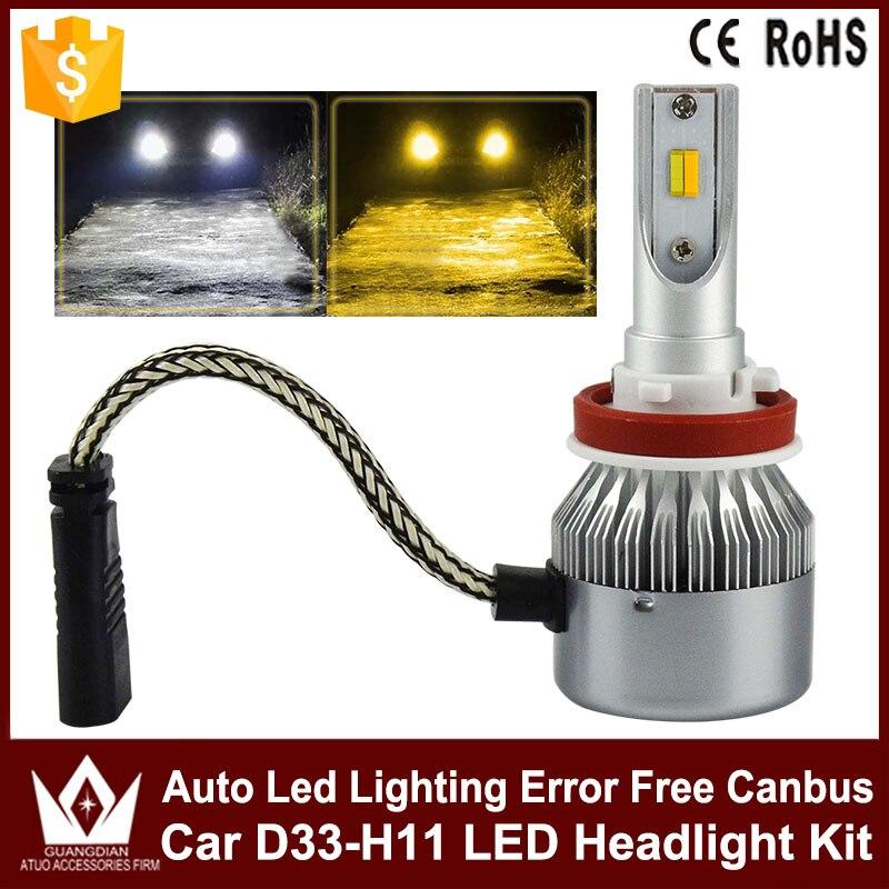 Tcart 2 color headlight H8/H9/H11 D33 LED Headlight 9V 24V 3800LM 36W 6000K CAR Auto COB LED Headlight Fog Lamps