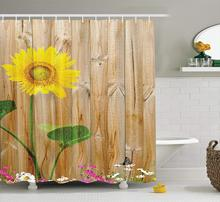 OLOEY Sunflower Wooden Background Polyester Fabric Bathroom