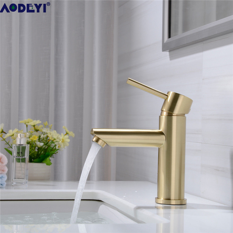 AODEYI Brass Basin Faucet Bathroom Mix Tap, Hot And Cold