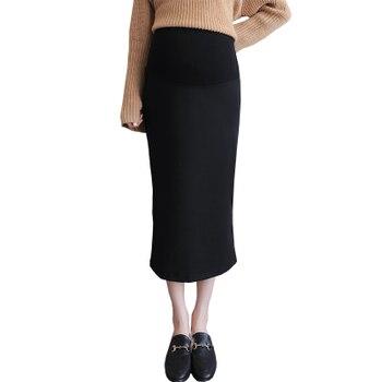 f2f2593c1 2018 otoño coreano moda Sexty maternidad faldas elástico cintura vientre  embarazo larga faldas lado Split falda para las mujeres embarazadas
