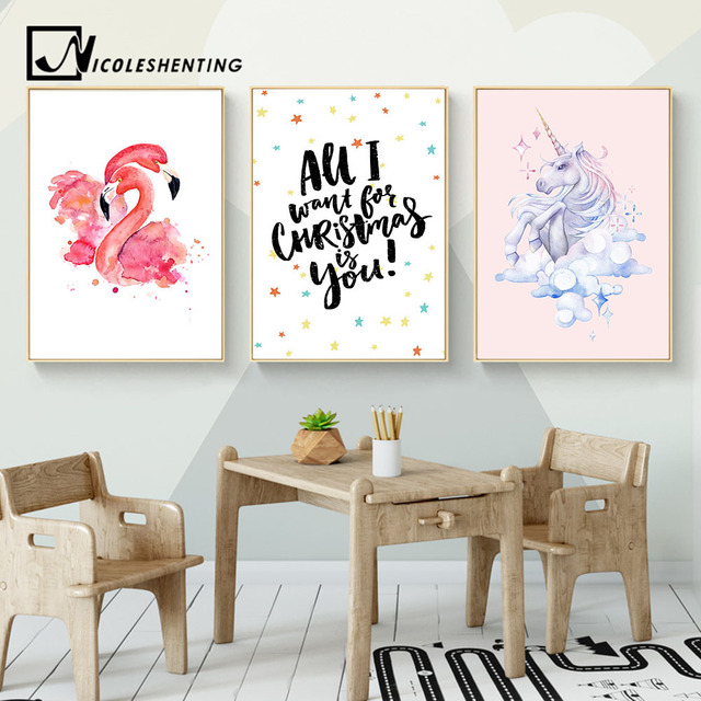 Kawaii Flamingo Unicorn Nursery Canvas Poster Prints Wall Art Painting Pictures For Children Living