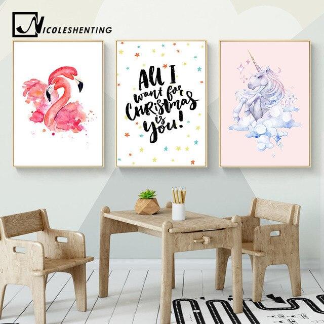 Kawaii Flamingo unicornio vivero lienzo pared arte pintura cuadros ...