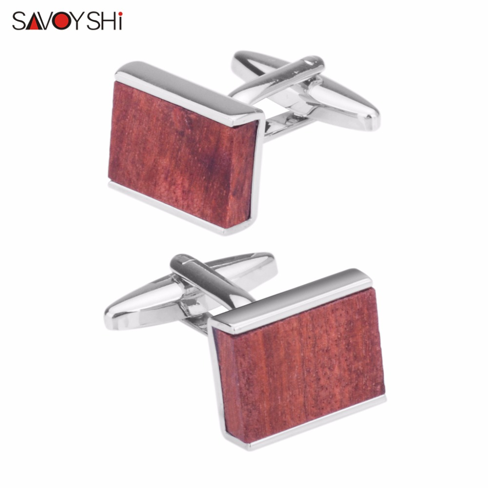 SAVOYSHI Luxury Red Wood Cufflinks For Mens Shirt High Quality Square Cuff Buttons Wedding Gift Brand Jewelry Abotoaduras