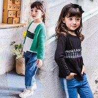 Girls Autumn Shirt 2017 Kids Cotton Shirt Children Plaid Patchwork Shirt O-neck Baby Toddler Fashion Tops,3-14Y,#2252