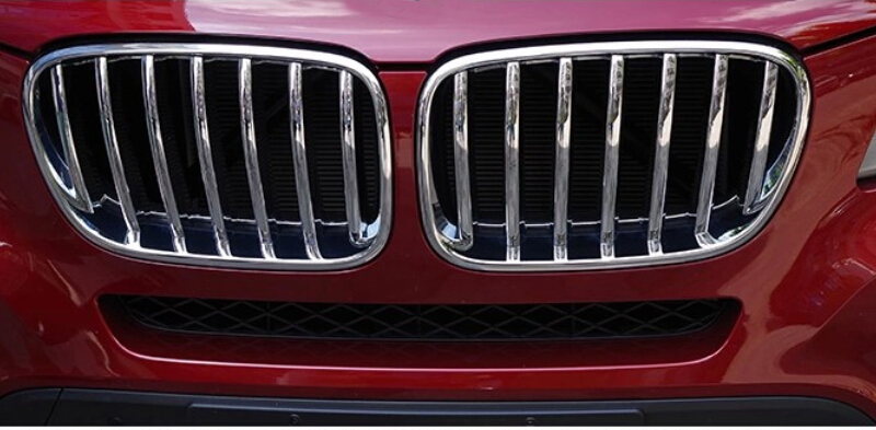 2pcs Car Styling ABS Chrome Front Center Grill Grille Frame Cover Trim For BMW X3 F25