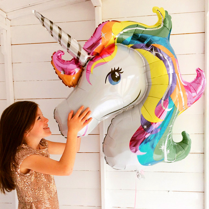 1pcs font b baby b font shower favor birthday party children unicorn balloon decor rainbow 2018