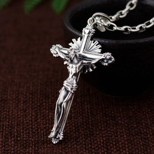 CMAJOR 925 Thai Silver Men Women Holy Jesus Cross Pendant Christian Prayer Necklace Handmade Sterling Silver Jewelry Wholesale brand new vintage christian holy bible necklaces pendants for women retro gold jesus necklace men cross prayer jewelry gift