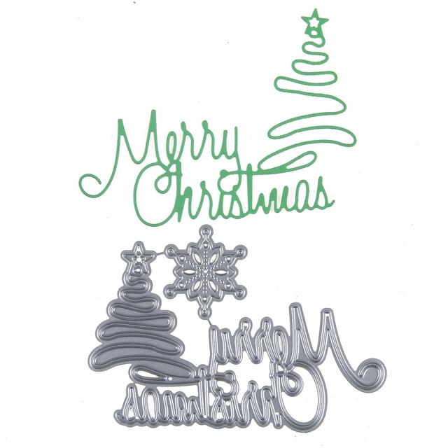 Schablone Frohe Weihnachten.Us 1 87 19 Off Anpassen 2017 Frohe Weihnachten Baum Stanzformen Metall Scrapbooking Präge Schablone Handwerk Für Diy Karten Album Buch Dekoration