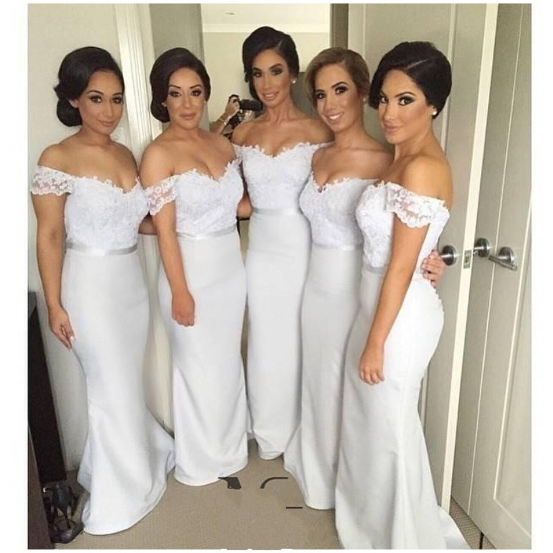 2018 Off Shoulder Mermaid   Bridesmaid     Dresses   Lace Appliques Sash Pretty Vestidos Damas Largos