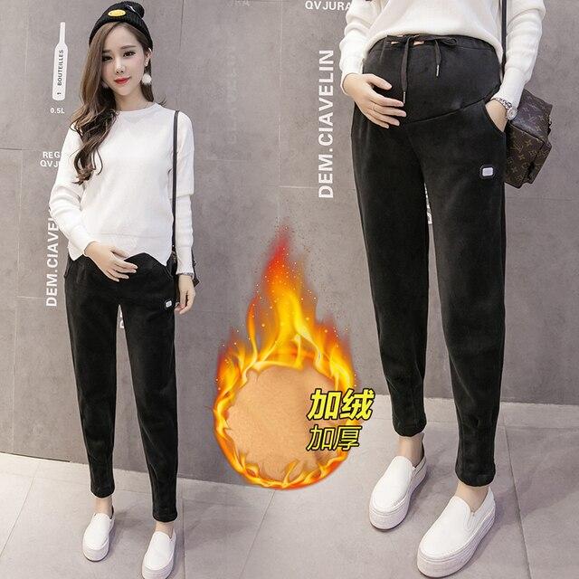 Maternity Pants Autumn Winter Casual Harem Pants Plus Warm Trousers