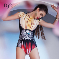 Short Sleeve Splicing 2018 YiLang Yellow High Neck One piece Swimwear Sexy Fringe Lovely Asymmetric Ladies Push Up Jumpsuit