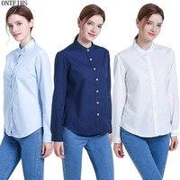 ONTFIHS Cotton Shirts Blouse For Womens Plus Size 2XL XL L M S Light Blue White