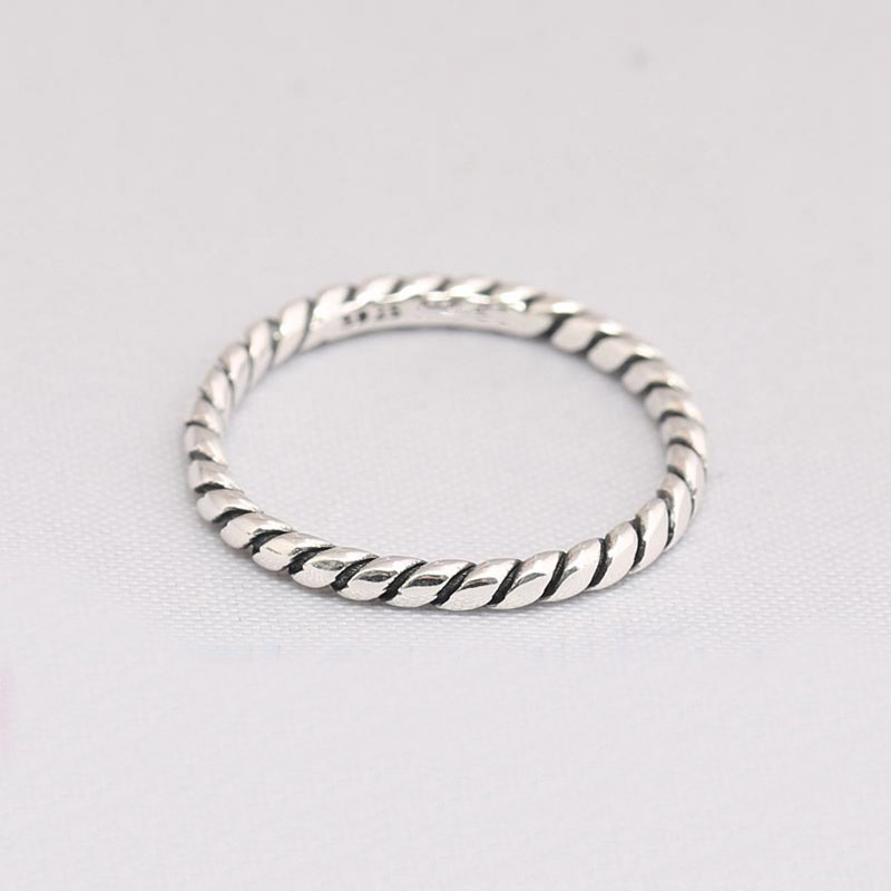 e95ca6003 925 sterling Silver ring Compatible with European Jewelry Twisted Rope Silver  Ring simple