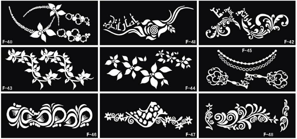 10 sheets Temporary Tattoo Template Arabic Tattoo Painting Stencil - tattoo template