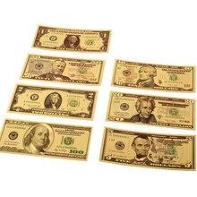 7 шт. 100/50/20/10/5/2/1 доллар поддельные деньги Опора деньги Банкноты США купюр, банкнотной в 24-каратное Золотое напыление для выявления фальшивой валюты е подарки