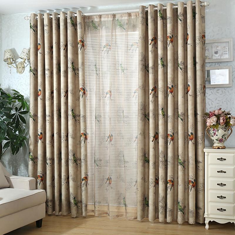 Aliexpress  Buy Vintage Birds Print Country Curtains for - country curtains for living room