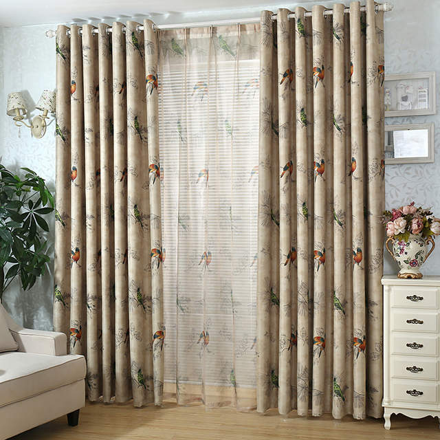country curtains for living room hgtv paint colors online shop vintage birds print placeholder bedroom decorative kitchen drapes window treatments rustic