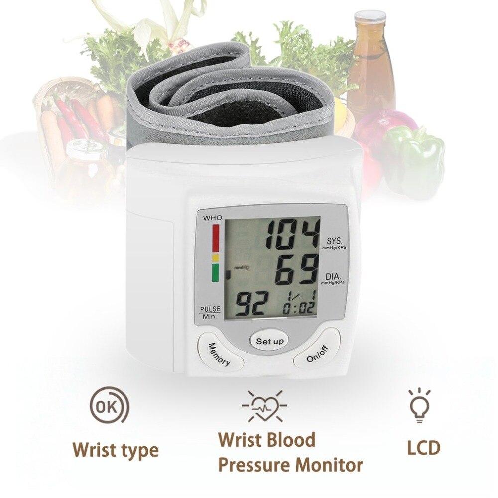 Portátil automática pantalla LCD Digital de muñeca Monitor de presión arterial dispositivo corazón ritmo pulso Meter medida tonómetro blanco