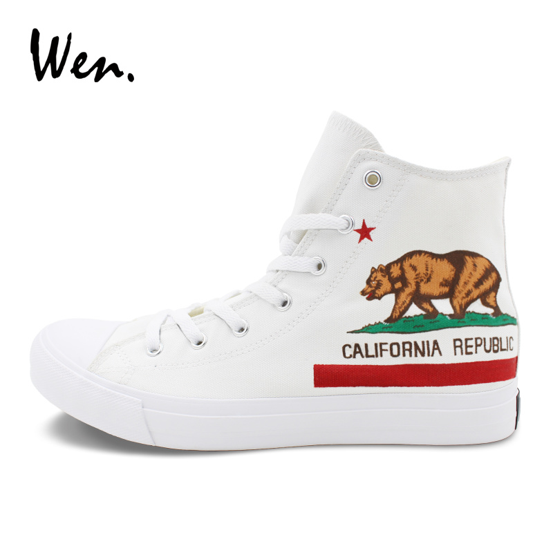 Wen Hi-Top Sneakers Canvas White Man Woman Hand Painted Shoes Design California Flag Grizzly Bear Skateboarding Shoes wen giraffe canvas shoes classic white hand painted animal sneakers sports high top skateboarding shoes for man woman