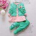 BibiCola New Spring Kids 3pcs Clothing Sets fashion girls cartoon clothes set Polka Dot jacket +long sleeve shirt+pant suit set