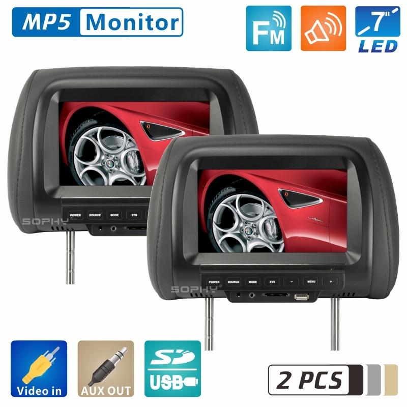 2 stücke Fabrik Direkt Verkäufe 7 zoll Auto Kopfstütze Monitor 800 * RGB * 480 Auto Monitor Unterstützung 2 Video eingänge AV Funktion SH7038