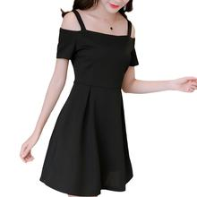 2019 New Yfashion Women Simple Slim Solid Color Sling Off Shoulder Dress