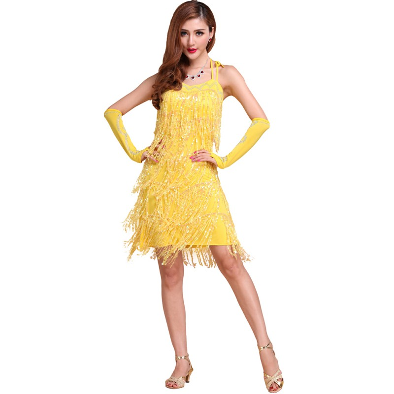 Women Sexy Latin Tango Salsa Cha Cha Ballroom Flamenco Dancing Dress Sequins Fringe