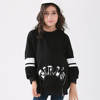 New 2018 Teen Girls Black Sweatshirts 6 15Y Letter Print O Neck Pullover Hoodies Teenage Girls Jackets in Spring Autumn Winter
