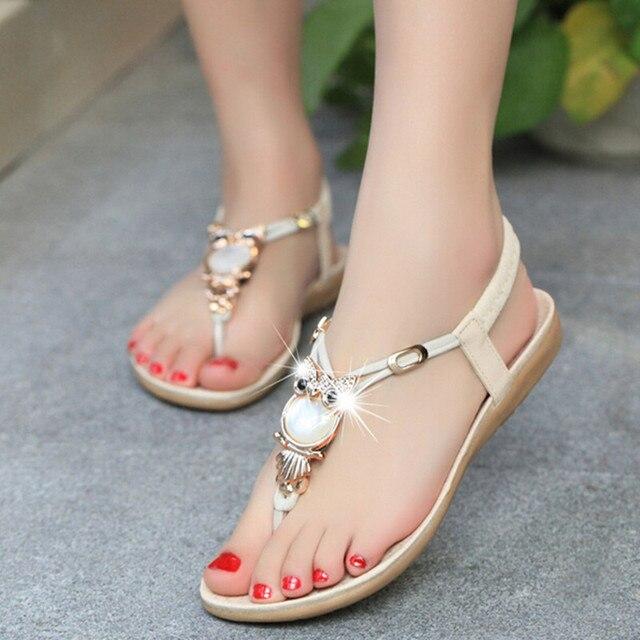 1646f607ded680 2017 Summer Fashion Flat Sandals Women Shoes New Luxury Owl Rhinestone  Women Sandals 23-26cm Bohemian Style