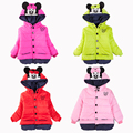 New Minnie Girls Jacket 1-5 Years old Children Winter Lovely Keeping Warm Girls Coats Cotton Casual Hooded Outwear Kids Clothing