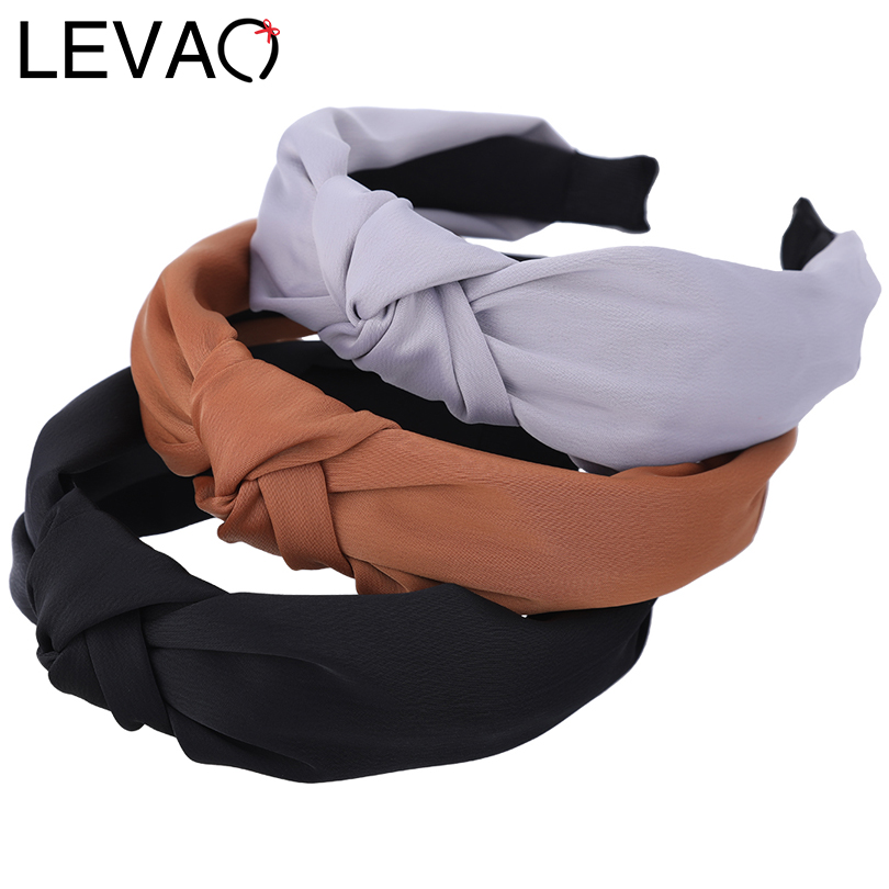 LEVAO New Turban Solid Hairbands Wide Vintage Hair Accessories Twisted Knotted Head Hoop Hair Band For Women