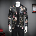 Brand New Men Floral Blazer Fashion 2017 High Quality Slim Fit Casual Blazer Jacket Long Sleeve Single Breasted Dress Suit Men
