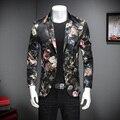 Nova marca Homens Blazer Floral Moda 2017 de Alta Qualidade Fina Fit Casual Blazer Jacket Manga Comprida Único Breasted Vestido de Terno homens