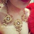 2015 New Chain Choker Shourouk Vintage Rhinestone Alloy Gem Ethnic Bib wedding set Statement Necklaces & Pendants Women Jewelry