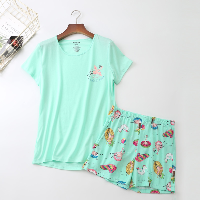New Women's Pajama Sets With Cute Cartoon Animals Printed Cotton Fashion Causal Pyjamas Sweet Green Color For Ladies