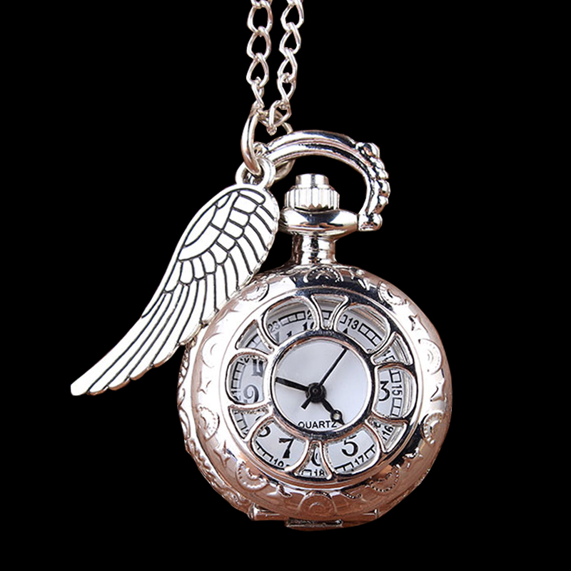 Shining Silver Pocket Watch Mini Carving Wings Vintage Quartz Pocket Watch Necklace Chain Pendant Watch Gifts Relogio De Bolso