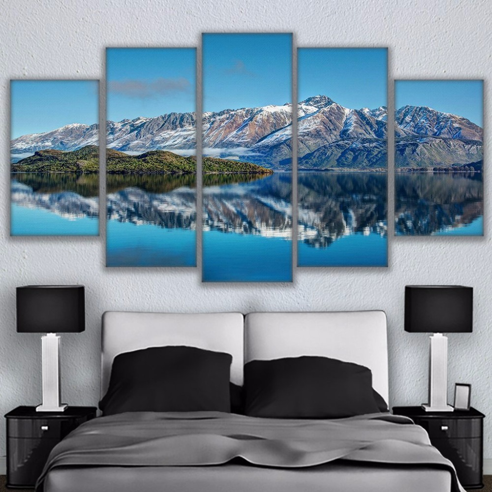 5 Piece Printed Canvas Painting Queenstown Mountains