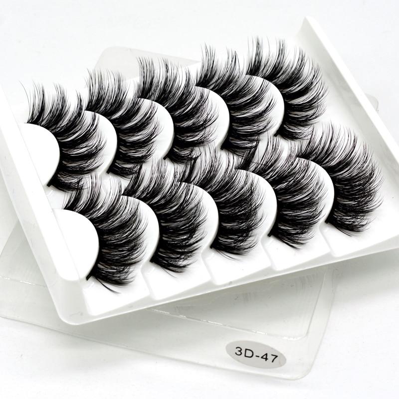 SEXYSHEEP 5Pairs 3D Mink Hair False Eyelashes Natural/Thick Long Eye Lashes Wispy Makeup Beauty Extension Tools