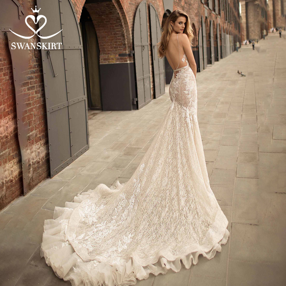 Swanskirt Sexy V- Neck Tulle Mermaid Wedding Dress 2019 Appliques Court Train Backless Princess Bride Gown Robe De Mariage EZ01