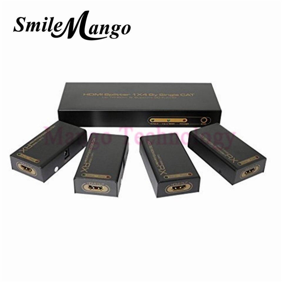 Extension répartiteur 2018 60 M par Cat 6/7 HDMI TX et RX sur les câbles Ethernet RJ45 prise en charge 3D 1X4 HDMI