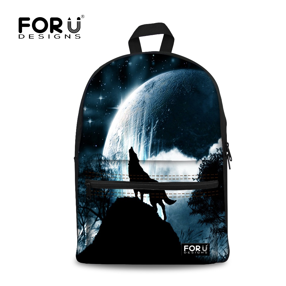 FORUDESIGNS Women Backpack School Bag for Teenagers Girls N Boys 3D Wolf Printing Backpacks Female Bagpack