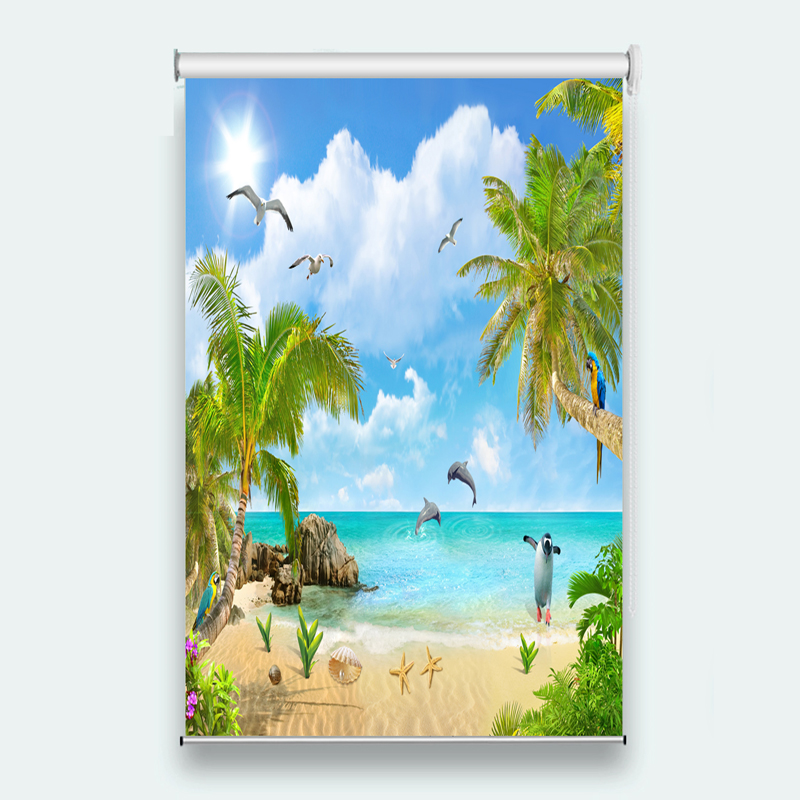 Window blinds 3d Roller Blinds Dolphin Coco Beach Window Living room Bedroom Hotel Photo Roller Blinds On The Windows   Window blinds 3d Roller Blinds Dolphin Coco Beach Window Living room Bedroom Hotel Photo Roller Blinds On The Windows